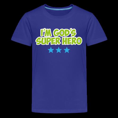 God's Super Hero - blue stars - Kids' Premium T-Shirt