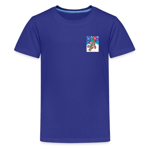 Bear floating with balloons; - Kids' Premium T-Shirt