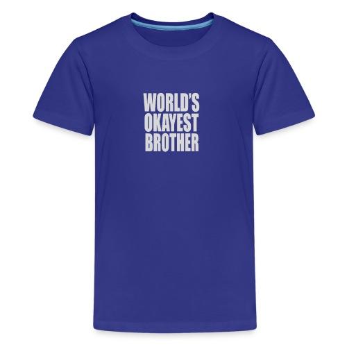 World s Okayest Brother Humour Logo - Kids' Premium T-Shirt