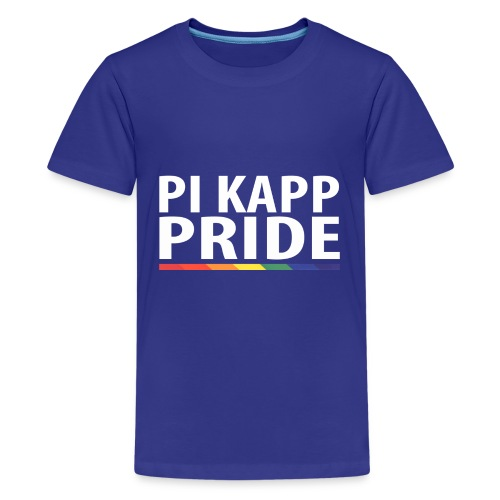 PKPride Stacked Design w Rainbow Stripe White Tex - Kids' Premium T-Shirt