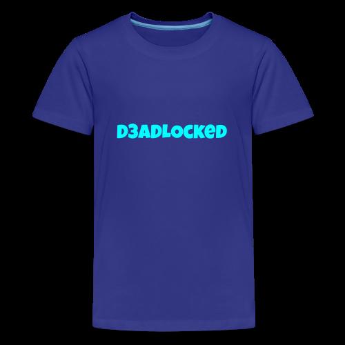 D3ADLocked Blue Text (Cyan Blue) Shirts And Hood - Kids' Premium T-Shirt