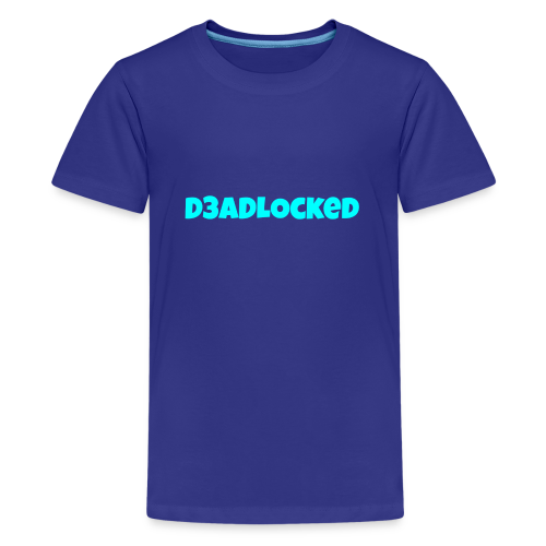 D3ADLocked Blue Text (Cyan Blue) Shirts And Hood - Kids' Premium T-Shirt