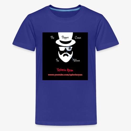 The Dapper Comes in Waves (White on Black Version) - Kids' Premium T-Shirt