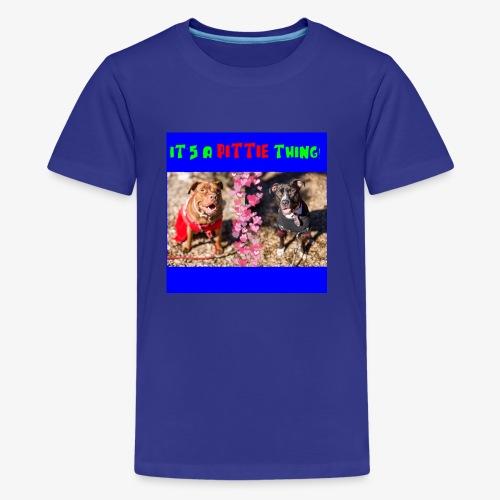 pittie thing flat blue - Kids' Premium T-Shirt