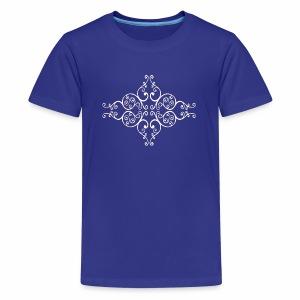 damask ornament no. 01 - white marble texture - Kids' Premium T-Shirt