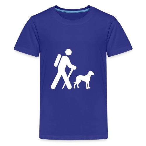 Hiking Man & Dog - Kids' Premium T-Shirt
