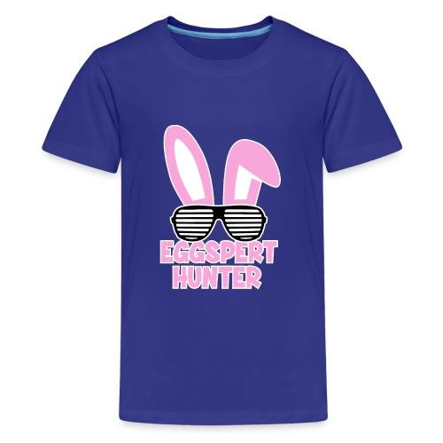 Eggspert Hunter Easter Bunny with Sunglasses - Kids' Premium T-Shirt