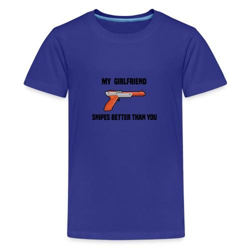 Girlfriend Snipes Better T-Shirt. Retro Gaming - Kids' Premium T-Shirt