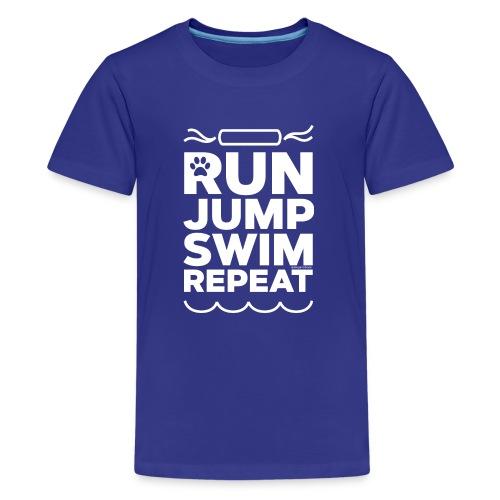 Run Jump Swim Repeat - white imprint - Kids' Premium T-Shirt