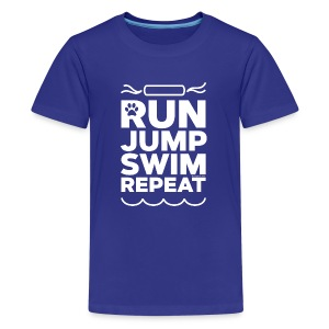 Run Jump Swim Repeat - white imprint - Kids' Premium T-Shirt