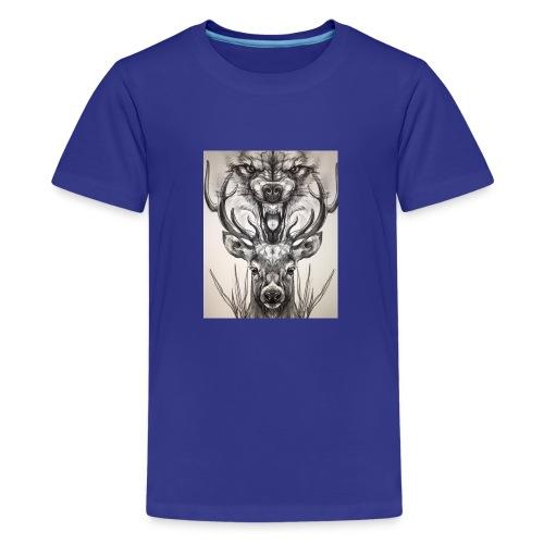 Black Ink Deer And Wolf Head - Kids' Premium T-Shirt