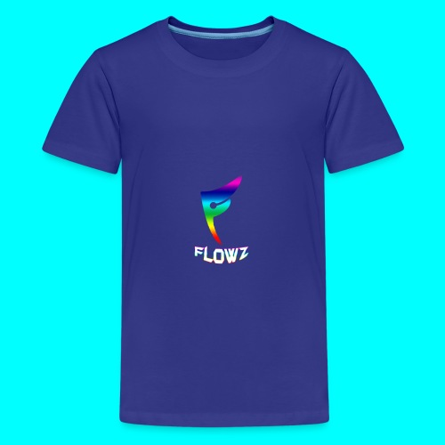 Multi-Colour Flowz Logo With Text - Kids' Premium T-Shirt