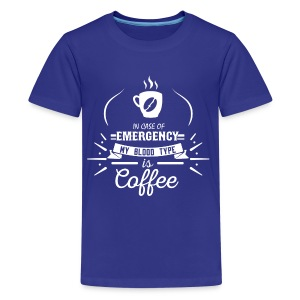 Coffee Blood Type | White Letters - Kids' Premium T-Shirt