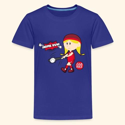 American girl baseball player hitting home run - Kids' Premium T-Shirt