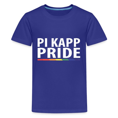 PKPride Stacked Design w Rainbow Stripe White Tex - Kids' Premium T-Shirt