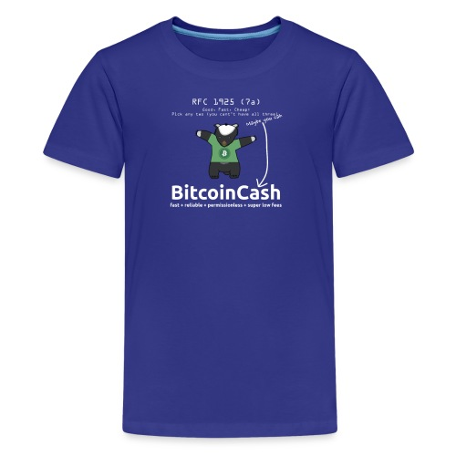 Bitcoin Cash RFC 1925 (7a) Green logo - Kids' Premium T-Shirt