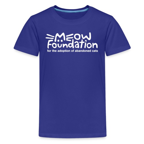 MEOW Foundation White Logo Tagline - Kids' Premium T-Shirt
