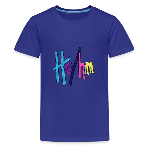 He/Him 1 - Small (Nametag) - Kids' Premium T-Shirt
