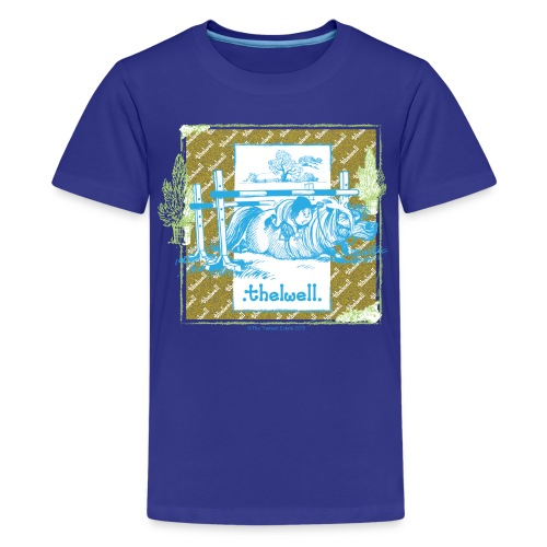 PonyFall blue yellow Thelwell Cartoon - Kids' Premium T-Shirt