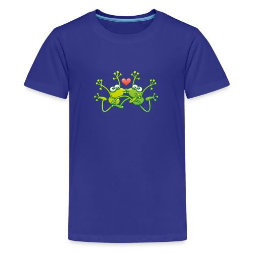 Frogs in love performing an acrobatic jumping kiss - Kids' Premium T-Shirt