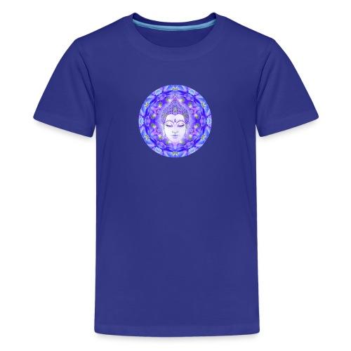 Summer Delphinium Meditation Yoga Mandala - Kids' Premium T-Shirt
