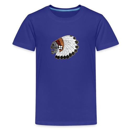 Indianskullwithheaddress - Kids' Premium T-Shirt