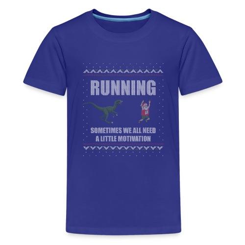 Ugly Christmas Sweater Running Dino and Santa - Kids' Premium T-Shirt