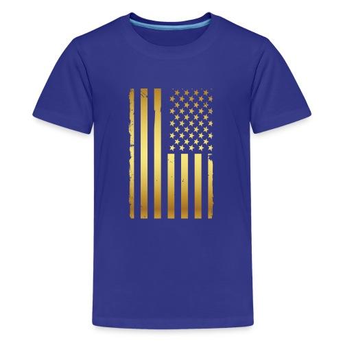Golden american flag - Kids' Premium T-Shirt