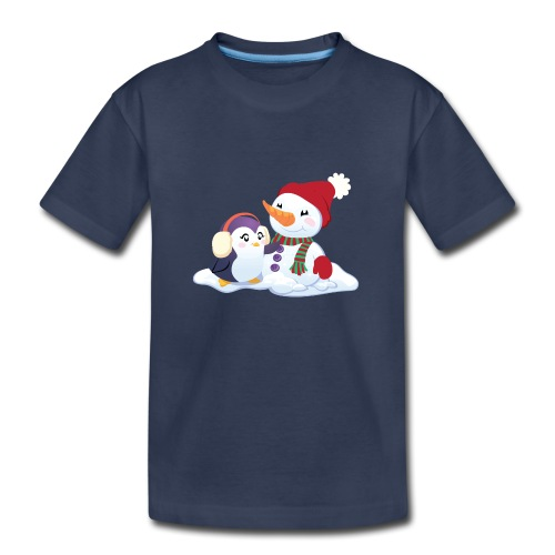 Penguin & Snowman Winter Friends - Kids' Premium T-Shirt