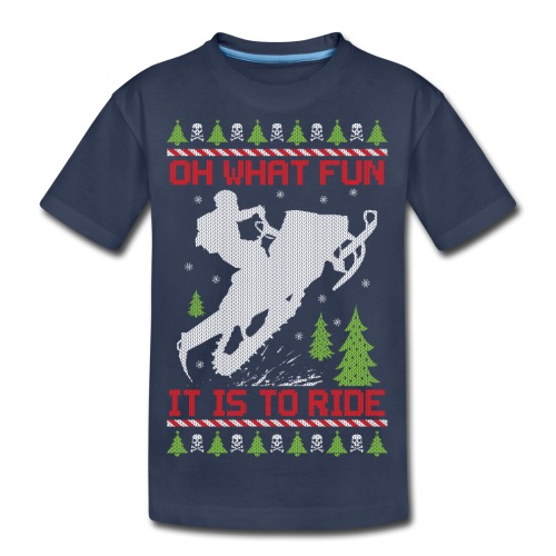 Ugly Christmas Snowmobile - Kids' Premium T-Shirt