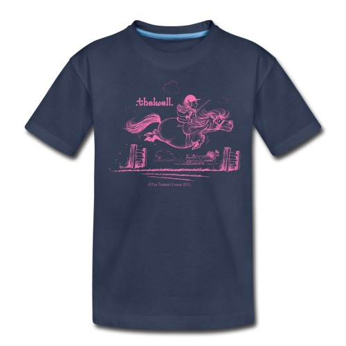 PonyJump Pink Thelwell Cartoon - Kids' Premium T-Shirt