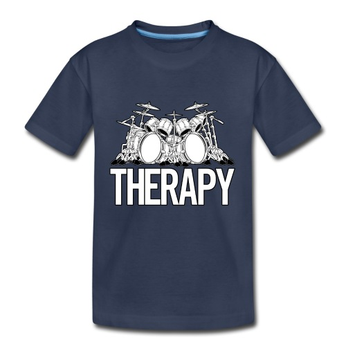 Drummers Therapy Drum Set Cartoon Illustration - Kids' Premium T-Shirt