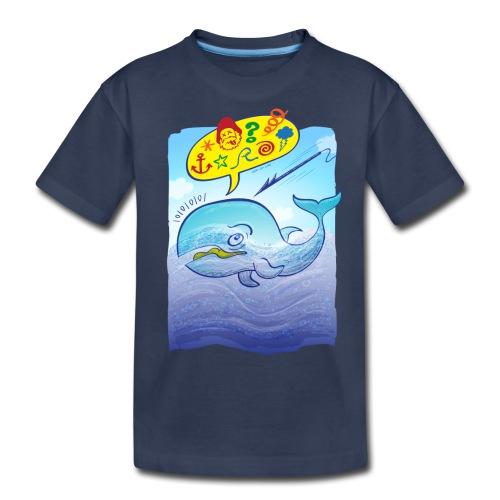 Menaced wild blue whale saying bad words - Kids' Premium T-Shirt