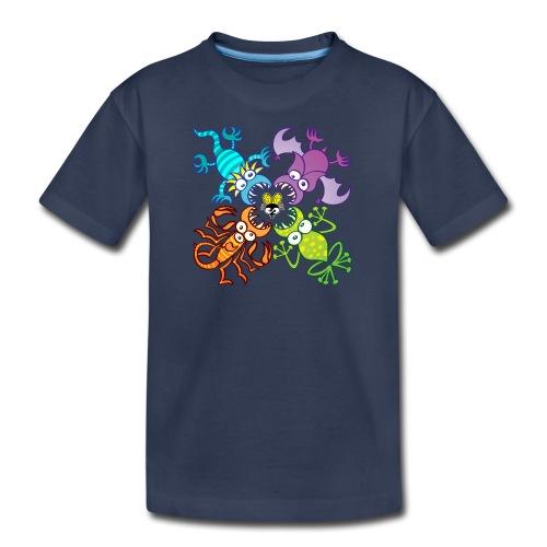 Bat, lizard, scorpion and frog stalking a poor fly - Kids' Premium T-Shirt