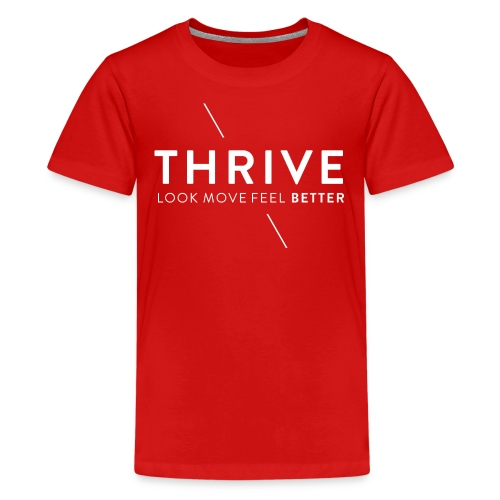 Thrive Logo with Tagline and Line White - Kids' Premium T-Shirt