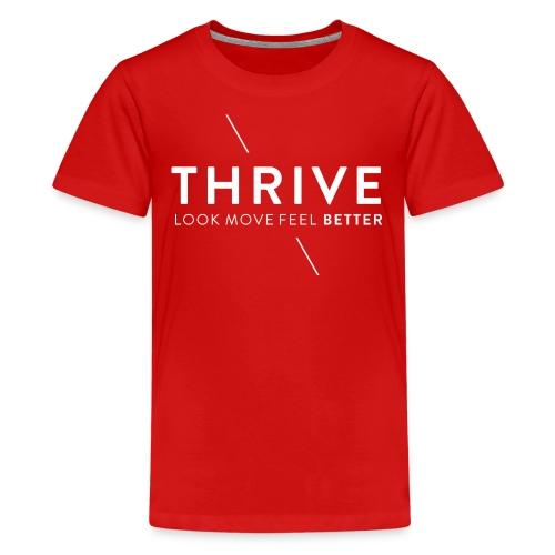 Thrive Logo with Tagline and Line White - Kids' Premium T-Shirt