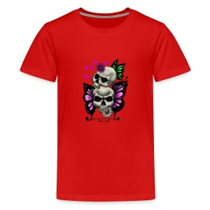 SKULLS WITH BUTTERFLIES AND DAISIES - Kids' Premium T-Shirt