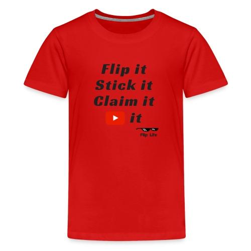 Flip it t-shirt black letting youtube logo - Kids' Premium T-Shirt