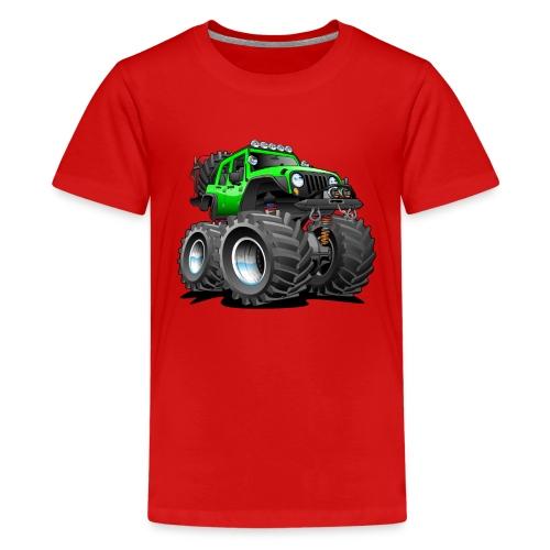 Off road 4x4 gecko green jeeper cartoon - Kids' Premium T-Shirt