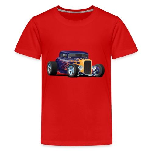 Vintage Hot Rod Car with Classic Flames - Kids' Premium T-Shirt
