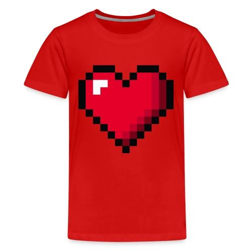 Pixel 8 bit Happy Valentine s Day Heart for Gamers - Kids' Premium T-Shirt