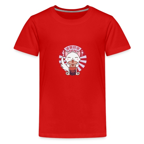 Kawaii Cat Kitten Drinking Bubble Boba Tea - Kids' Premium T-Shirt
