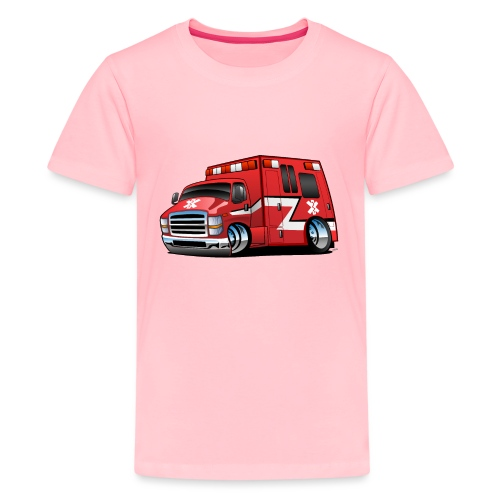 Paramedic EMT Ambulance Rescue Truck Cartoon - Kids' Premium T-Shirt