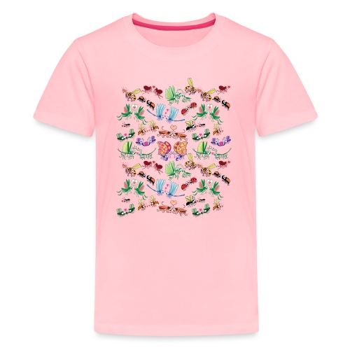 Funny insects falling in love in a pattern design - Kids' Premium T-Shirt