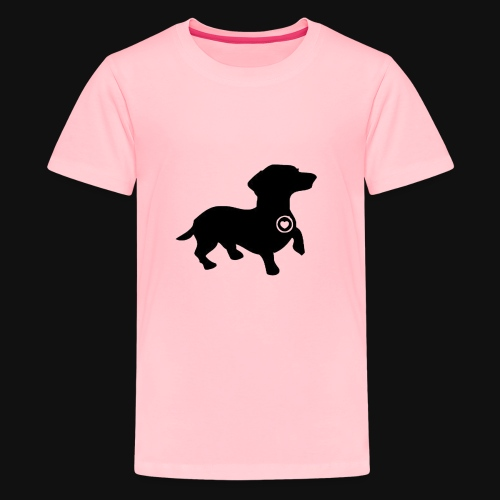 Dachshund love silhouette black - Kids' Premium T-Shirt