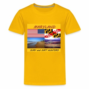 MARYLAND SURF AND DIRT HUNTERS LARGE LOGO - Kids' Premium T-Shirt