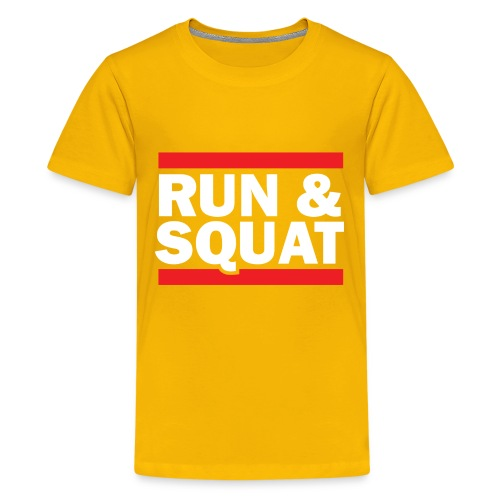 Run Squat White on Dark by Epic Greetings - Kids' Premium T-Shirt