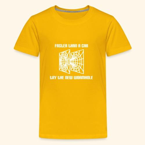 wormhole is faster than a car - white version - Kids' Premium T-Shirt