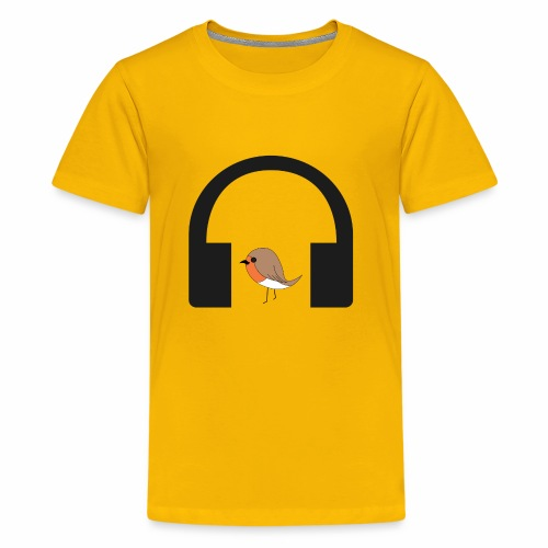 bird listen to music - Kids' Premium T-Shirt