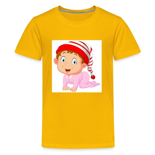 baby girl cartoon vector 4988650 - Kids' Premium T-Shirt